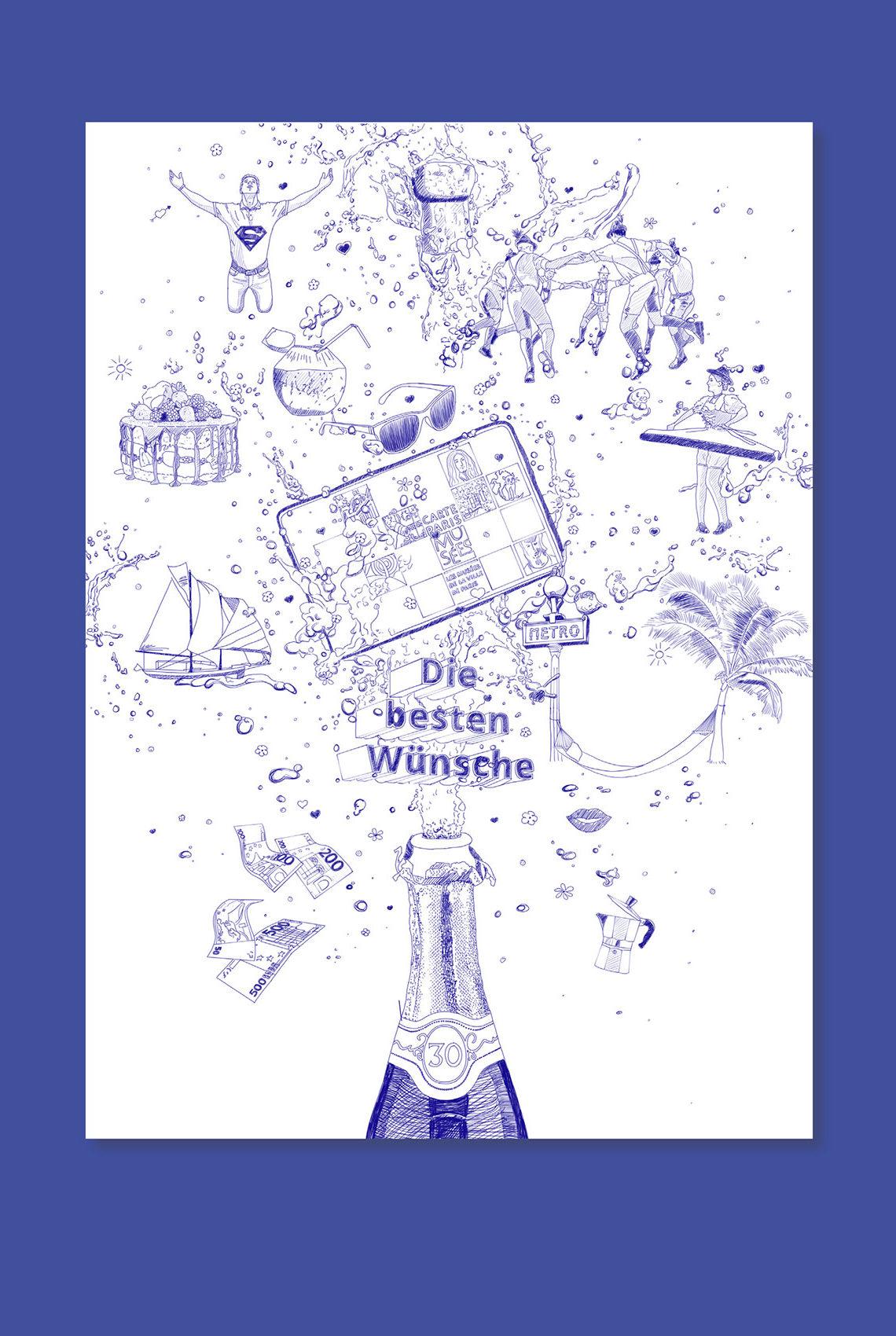 Illustration: Geburtstagswünsche, birthday wishes
