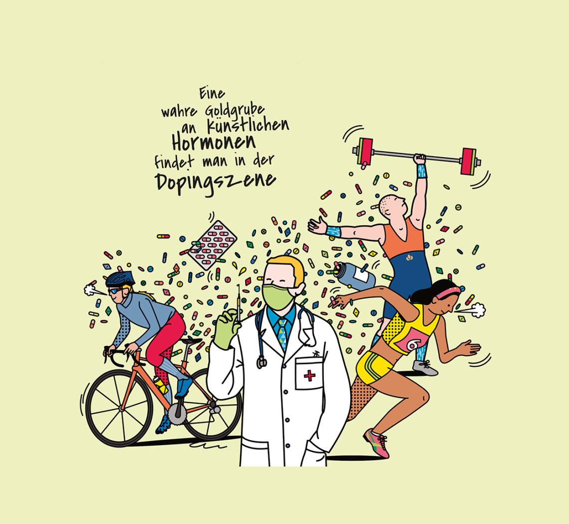 Illustration: Künstliche Hormone in der Dopingszene, Artificial hormones in the doping scene