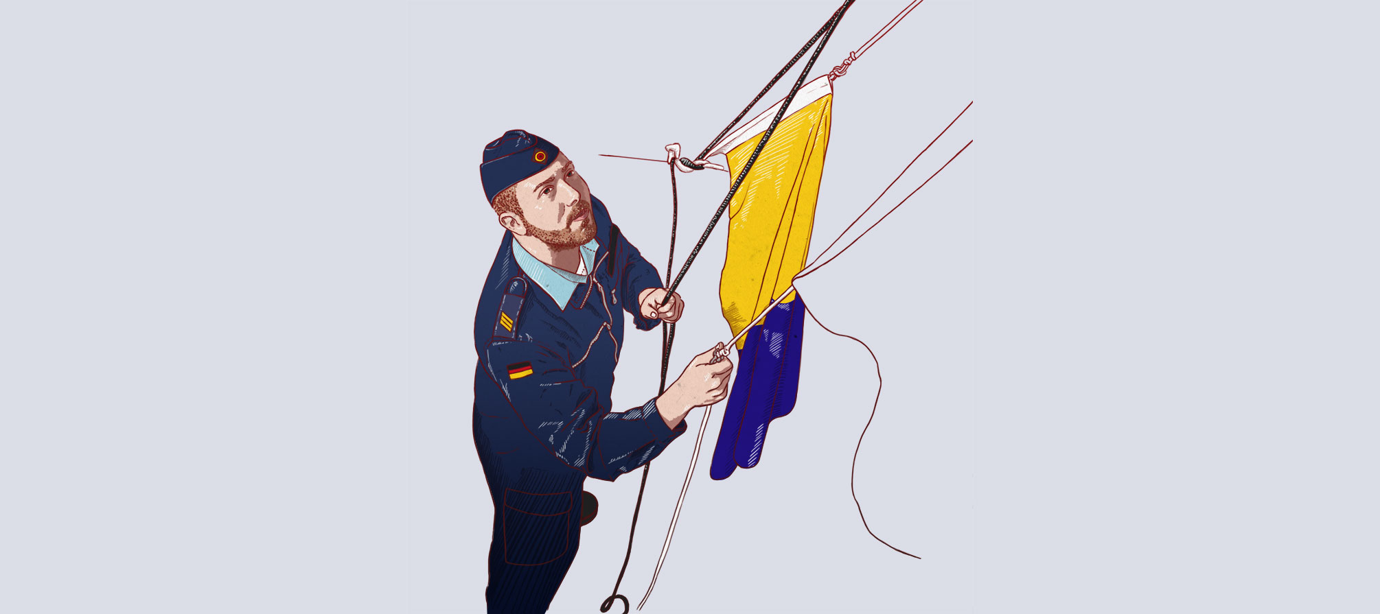 Illustration: Fahnen hissen, raising flags