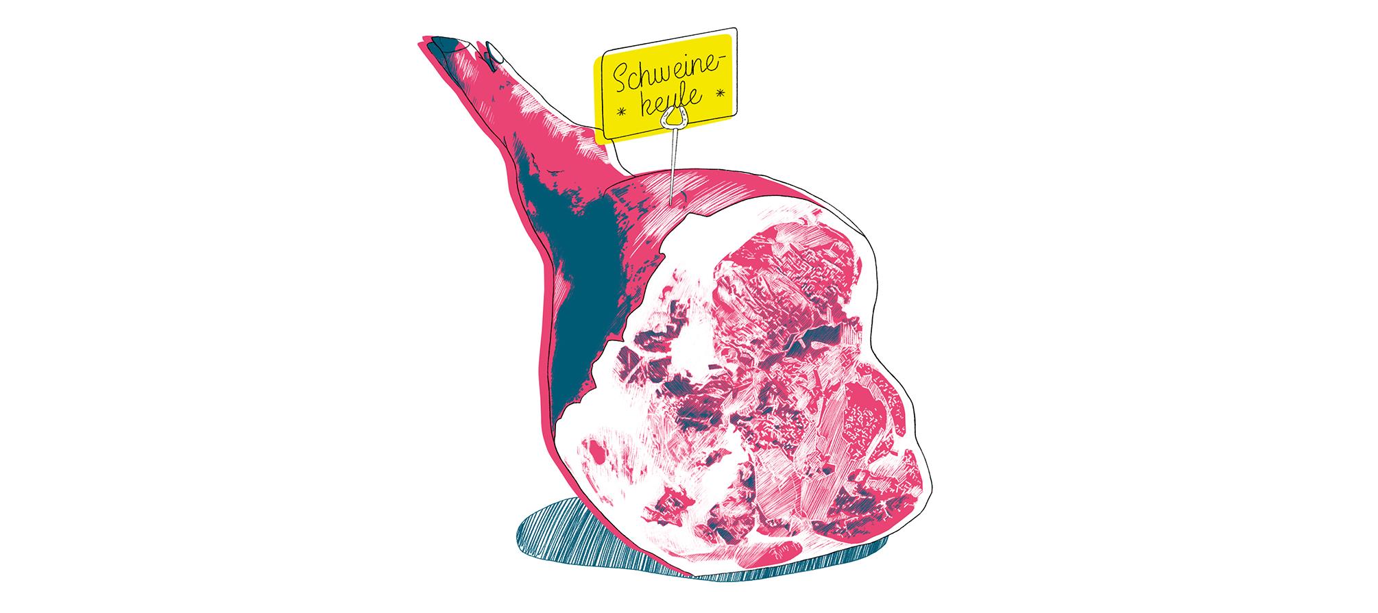 Küchenkultur Illustrationen Mett, Food Illustrations ground pork