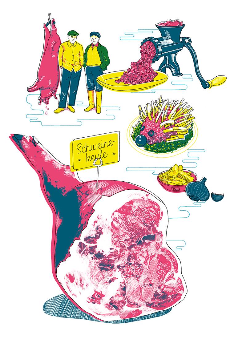 Küchenkultur Illustrationen Mett, Illustrations ground pork