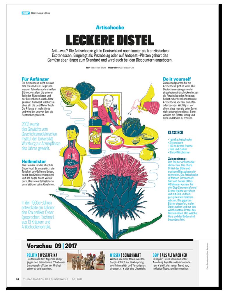 Küchenkultur Illustrationen Artischocke Layout, Food Illustrations artichoke Layout