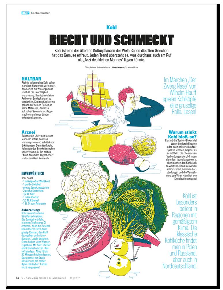 Küchenkultur Illustrationen Kohl Layout, Food Illustrations cabbage Layout