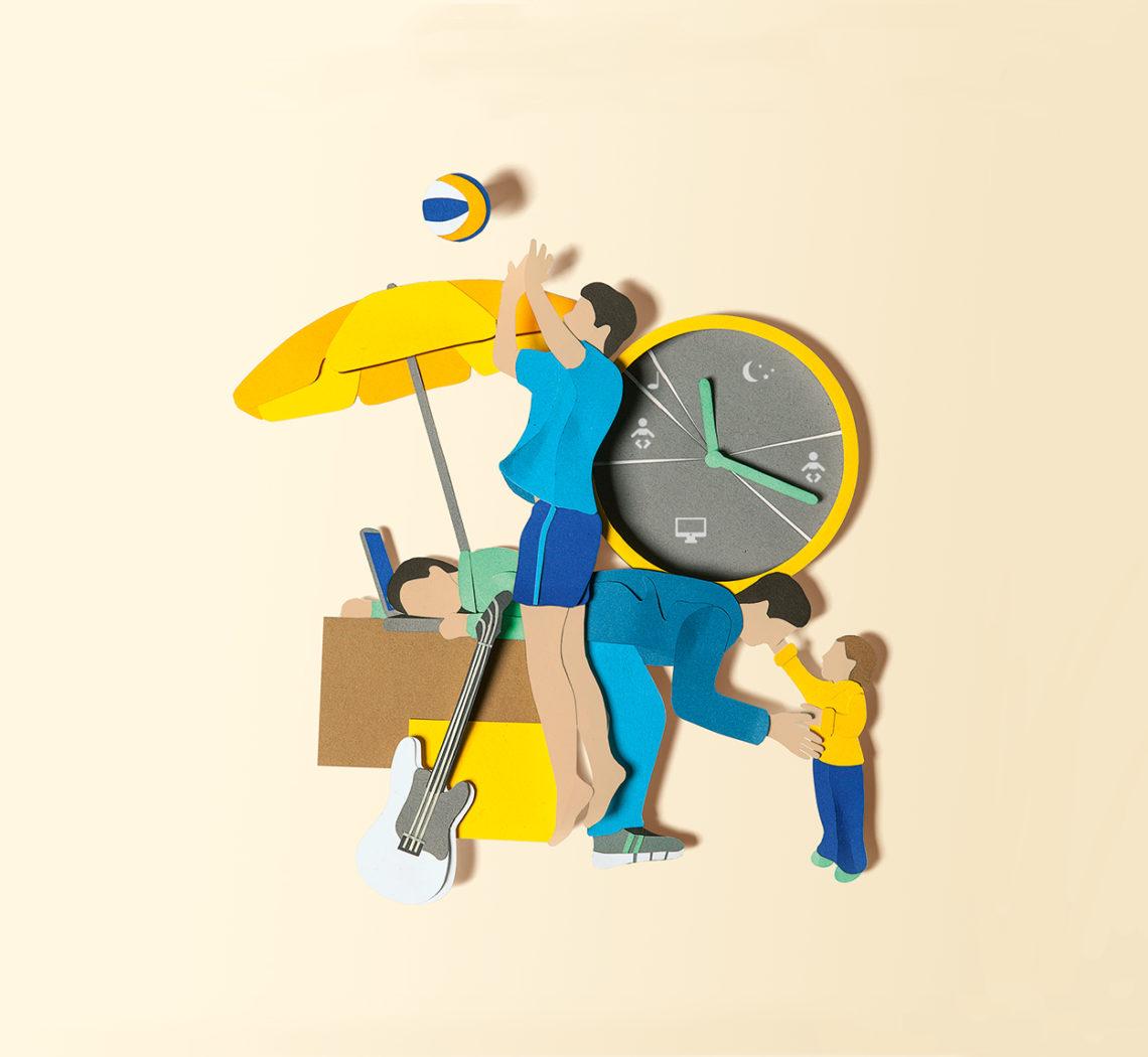 Vaterschaft Papercraft Thema Zeiteinteilung, Paternity Papercraft topic time management