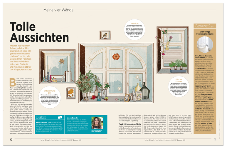 Vivawest Kundenmagazin Illustration Festerdekoration window decoration layout