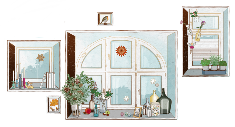 Vivawest Kundenmagazin Illustration Festerdekoration window decoration