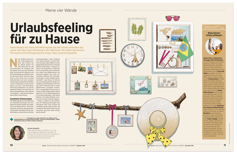 Vivawest Kundenmagazin Illustration Urlaubsfeeling holiday feeling layout
