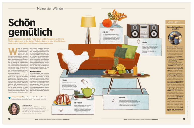 Vivawest Kundenmagazin Illustration Wohlfühloase oasis of well being layout