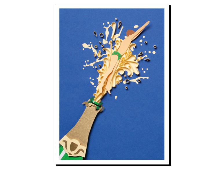 Papercraft Postkarte Champagner