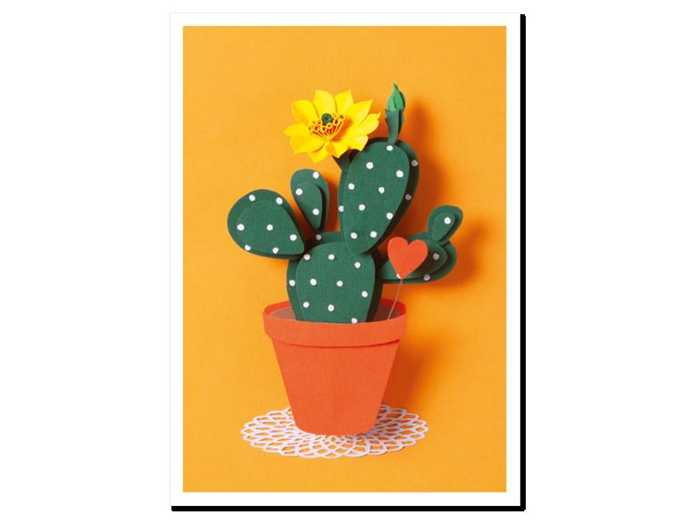 Papercraft Postkarte Kaktus