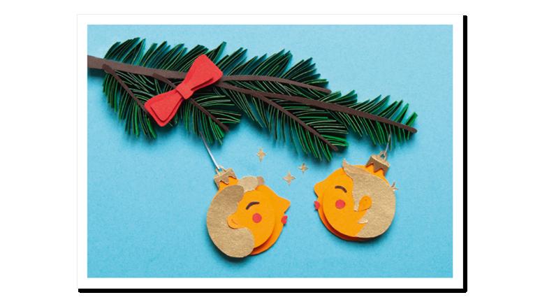 Papercraft Postkarte Weihnachtskugeln