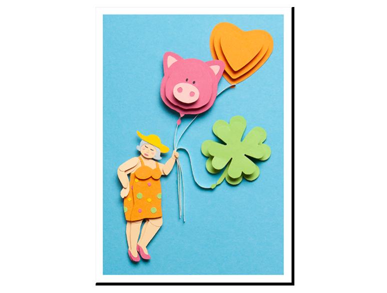 Papercraft Postkarte Ballondame