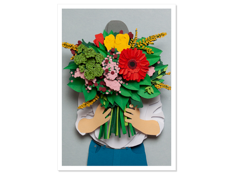 Papercraft Postkarte Blumenstrauss