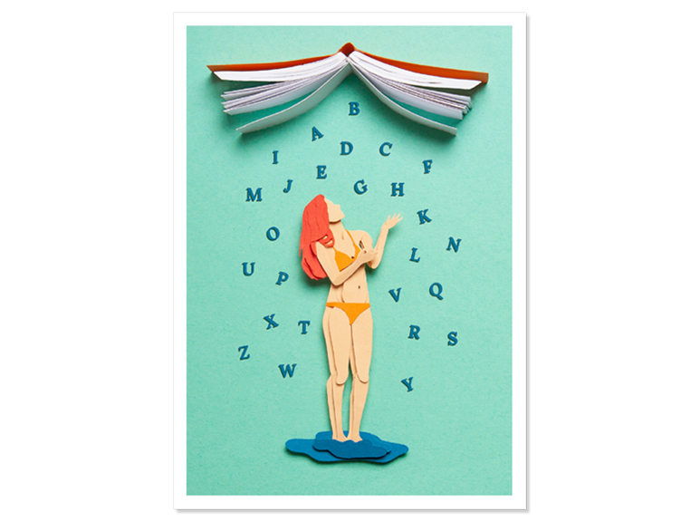 Papercraft Postkarte Buchdusche