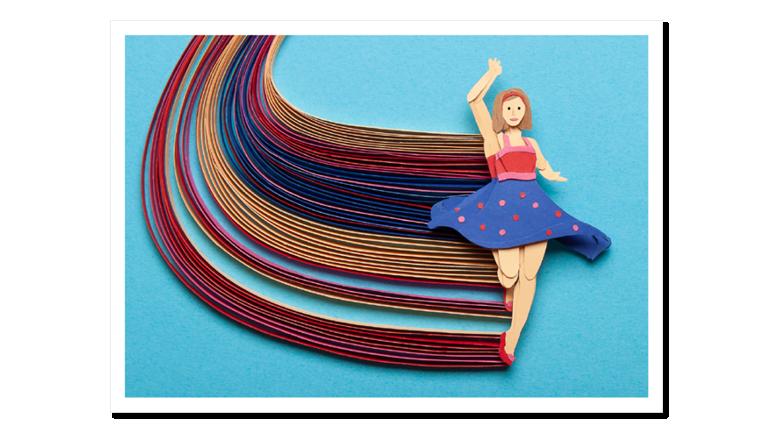 Papercraft Postkarte Tänzerin